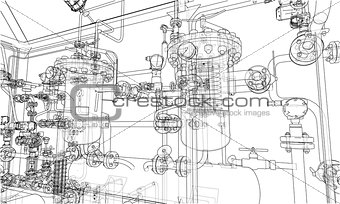 Sketch industrial equipment. Vector