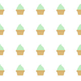 Mint cream cake seamless white pattern