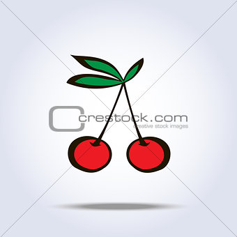 Pair of cherries icon on gray