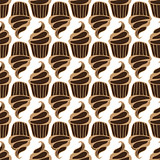 White cream choco cake seamless pattern