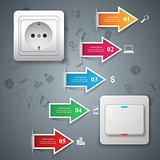 Switch, socket icon. Abstract business infographic.