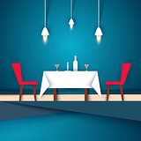 Restaurant - paper illustration. Wineglass, chair, table, candle, bottle icon.