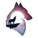Wolf illustration. Cartoon paper landscape.