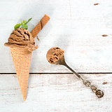 Chocolate ice cream cone top view