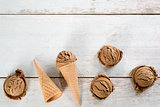 Chocolate ice cream top view