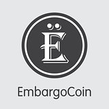 Embargocoin Virtual Currency. Vector EBG Trading Sign.
