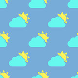 Cloud and sun seamless pattern