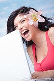 Laughing Girl Laptop Lilium
