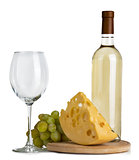 White wine, cheese, grapes, glass