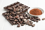 dark chocolate, cocoa beans and cocoa powder