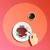 Vector flat illustration catering party with people hands and a plate with dishes from the menu, top view