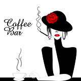 Coffee Bar Illustration with woman smoking cigarette