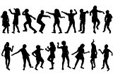 Silhouettes of children dancing