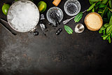 Metal ice bucket and mojito ingredients