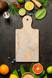 Marble cutting board, Cocktail making bar tools, tropical fruits