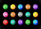 Fifteen colorful numbers icons