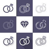 Simple decorative wedding rings icons