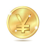 golden coin with yen sign