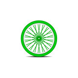 Bicycle wheel in green design with shadow