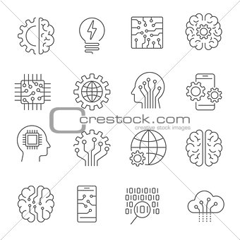 Artificial intelligence icon set. Editable Stroke