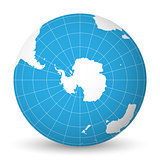 Earth globe with white world map and blue seas and oceans focused on Antarctica with South Pole. With thin white meridians and parallels. 3D vector illustration