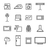 Home appliances icons from thin lines, vector illustration.