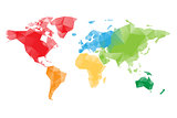 Low poly map of World divided into six continents by color. Polygonal vector design with dropped shadow