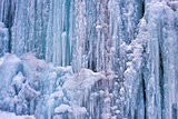 Closeup of an ice waterfall during cold winter day