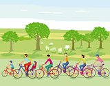 Group of cyclists take a trip