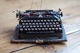 Vintage typewriter hero header on desk