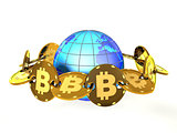 Bitcoins and the globe as a blockchain concept (3d illustration)