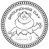 Stamp print Groundhog Day