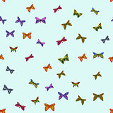 abstract vector colorful doodle butterflies seamless pattern