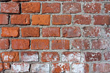 Closeup of old red brick wall