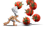 Cute chef box character catching tomatoes