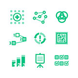 Nine green icons describing a business processes
