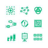 Nine green icons describing a business processes