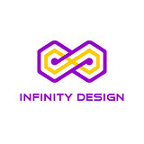 Yellow infinity with a purple silhouette around it