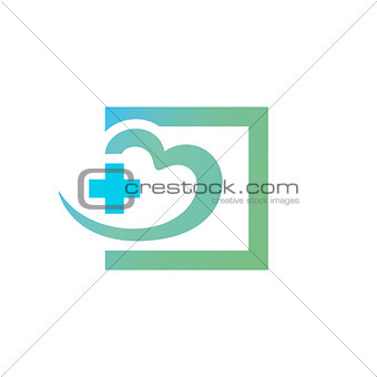 Green blue square with heart and cross in it