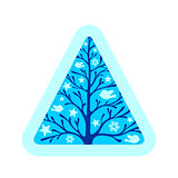 Blue triangle with tree, birds and stars inside