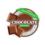 Brown chocolate plate circle with bars green tape