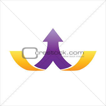 1 purple arrow divided from middle on 2 gold lines