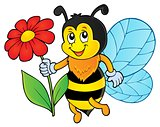 Happy bee holding flower theme 1