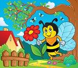 Happy bee holding flower theme 2