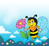 Happy bee holding flower theme 4
