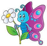 Happy butterfly holding flower theme 1