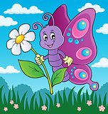 Happy butterfly holding flower theme 3