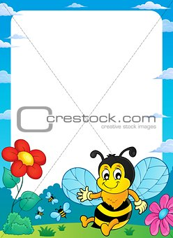 Happy spring bee topic frame 1
