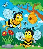 Happy spring bees theme image 1