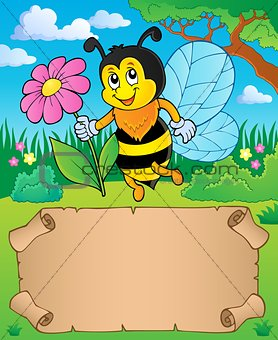 Small parchment and bee holding flower